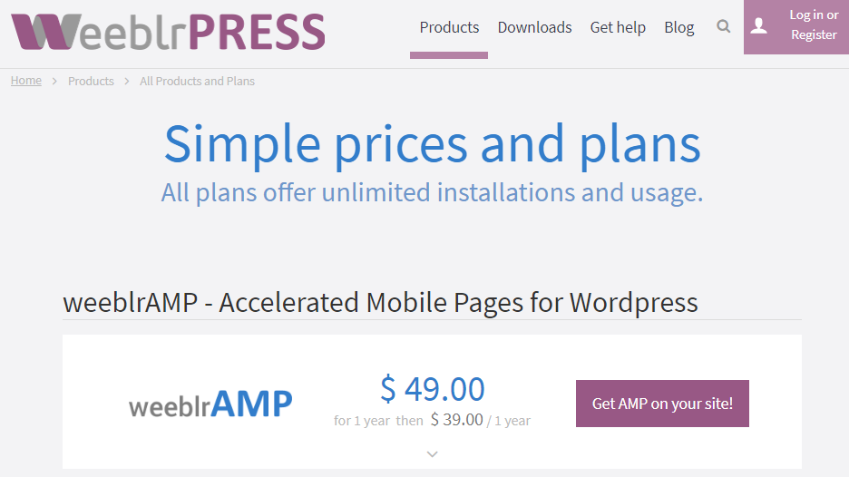 Plugin AMP on WordPress: PRO version pricing