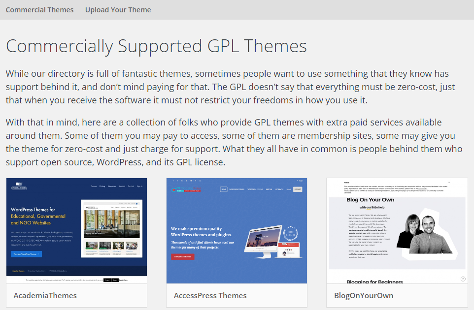 GPL themes with commercial WordPress support