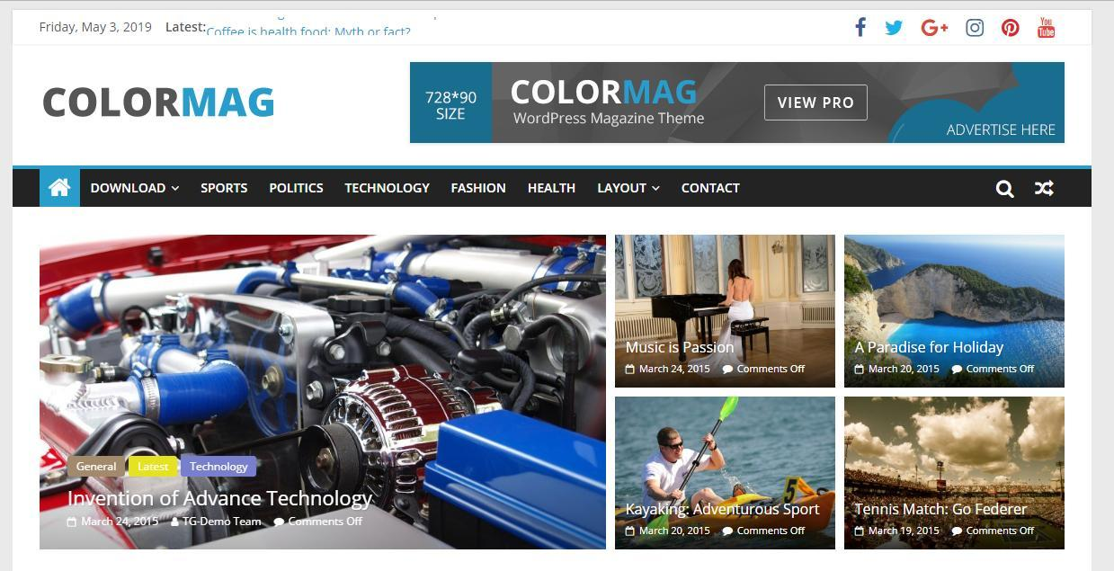 Free Colormag Media Template for WordPress - 1