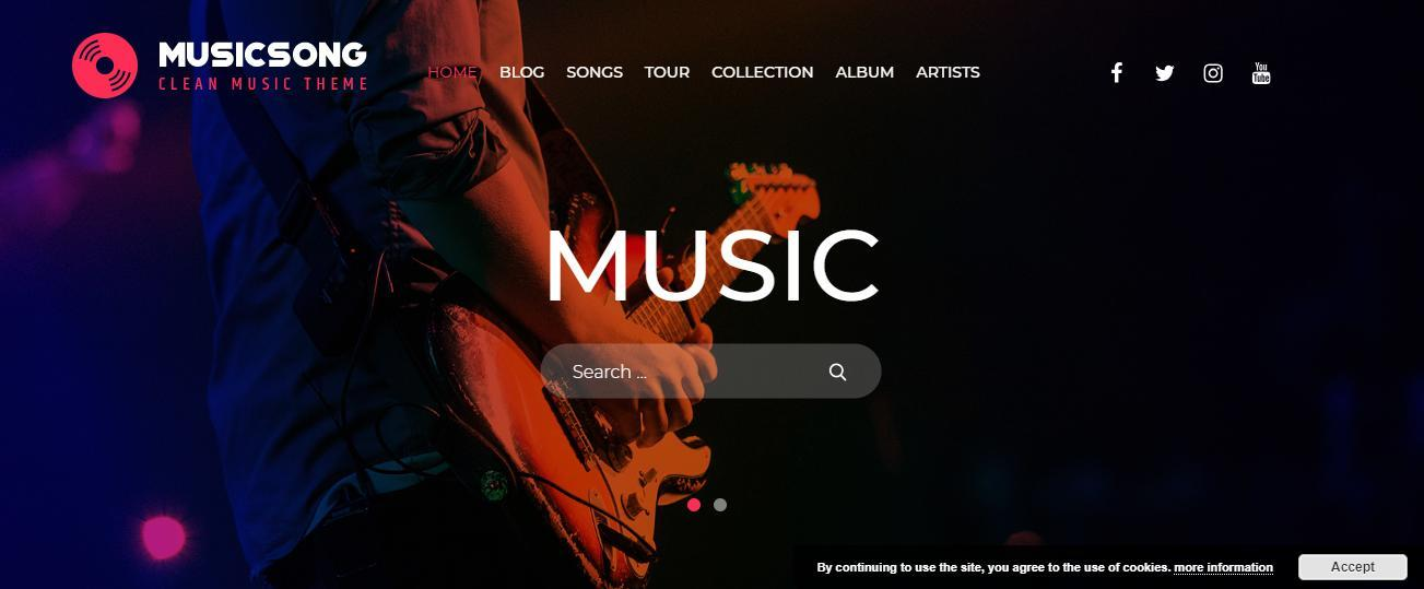 Free Musicsong Music Website Template for WordPress - 1