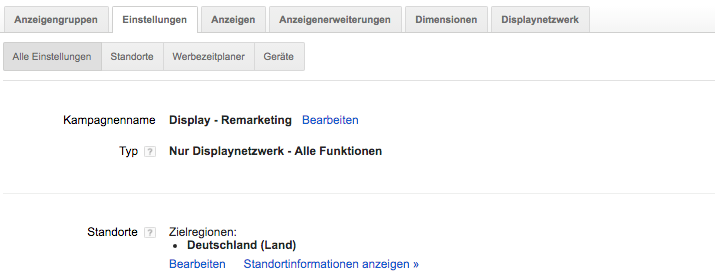 Einstellungen Google Adwords
