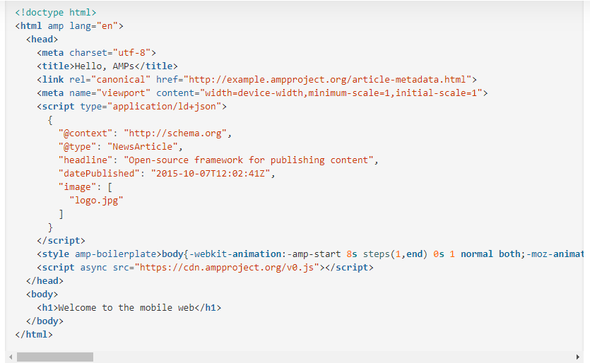 AMP page structure and its HTML code