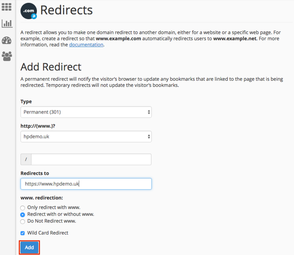 Setting redirects on hosting