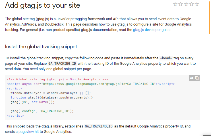 Google Analytics Script Global Site Tag