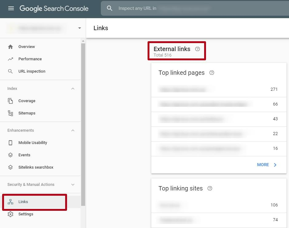 External links in Google Search Console