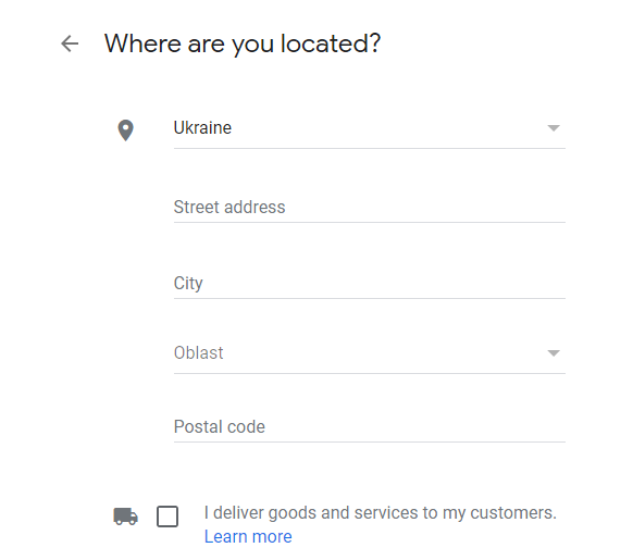 company address in Google My Business