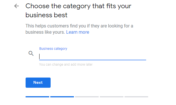 business category in Google My Business