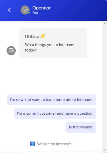 Intercom online chat example