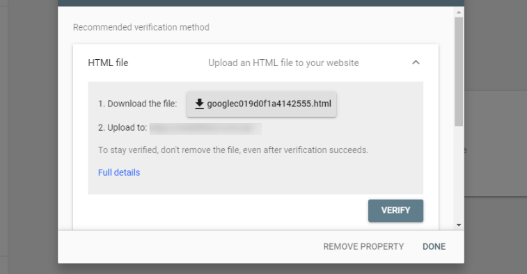 Verification of the site in Google Search Console