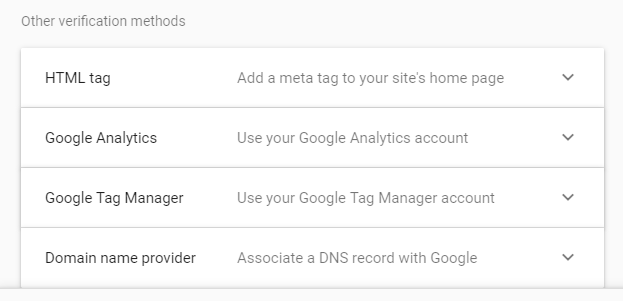 Alternative verification methods in Google Search Console