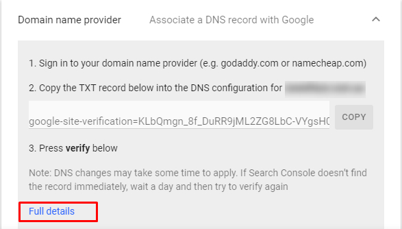 Verification using DNS