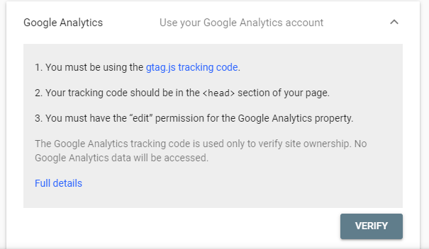 Rights verification using Google Analytics