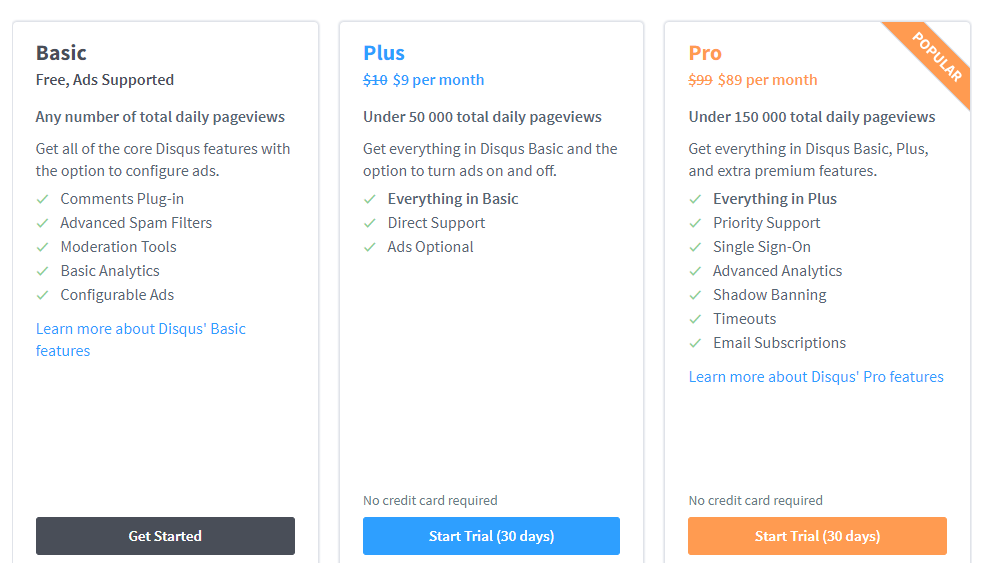 Disqus Plans and Pricing