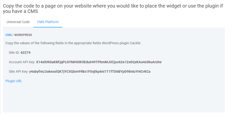Installing Cackle widget for WordPress