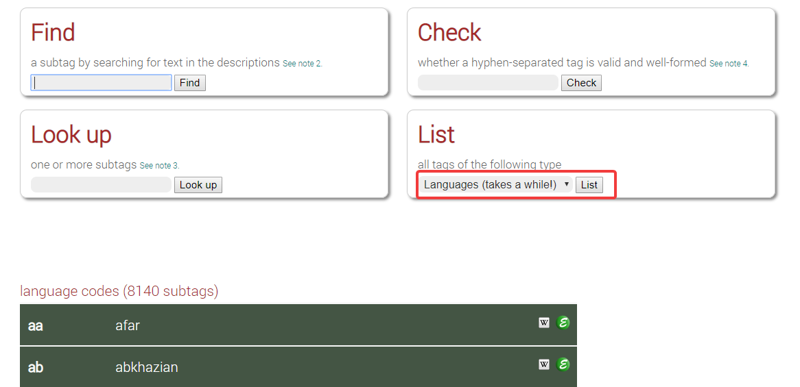 Language codes in the Language Subtag Lookup utility