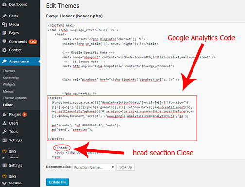 Integrating Google Analytics code to the site