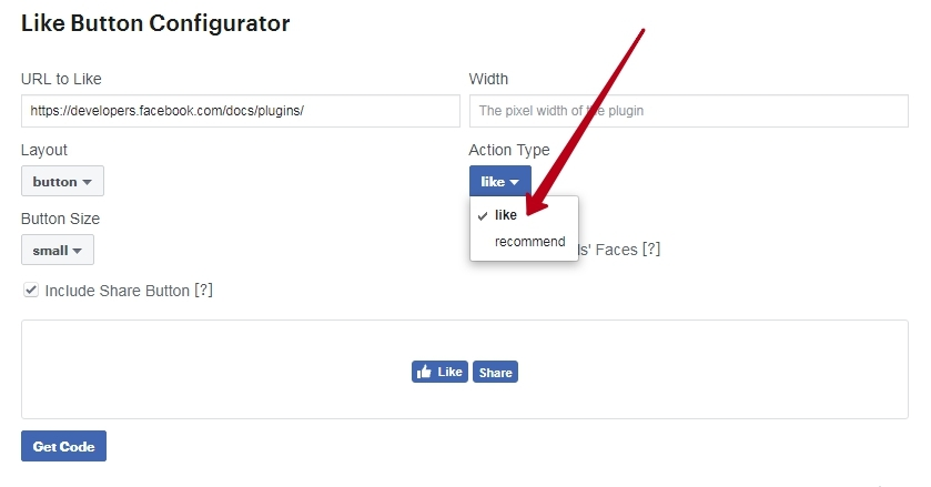 the type of action buttons to Facebook site