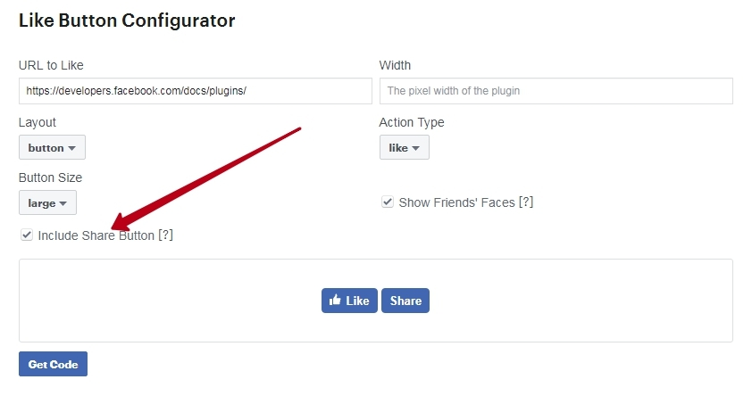 share button for a site in Facebook