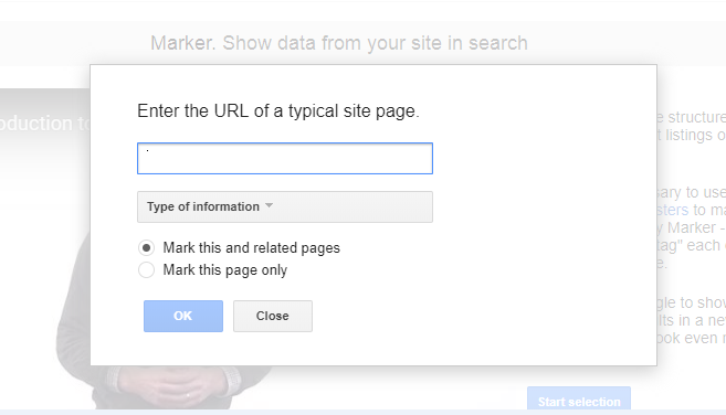 Selecting information in Google Data Marker