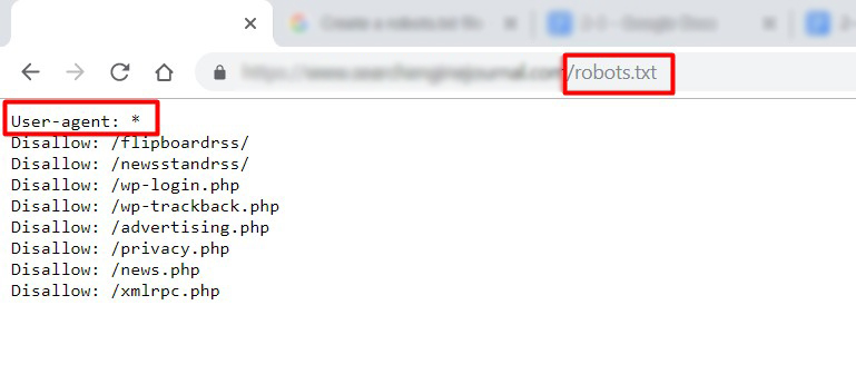 Example of robots.txt file