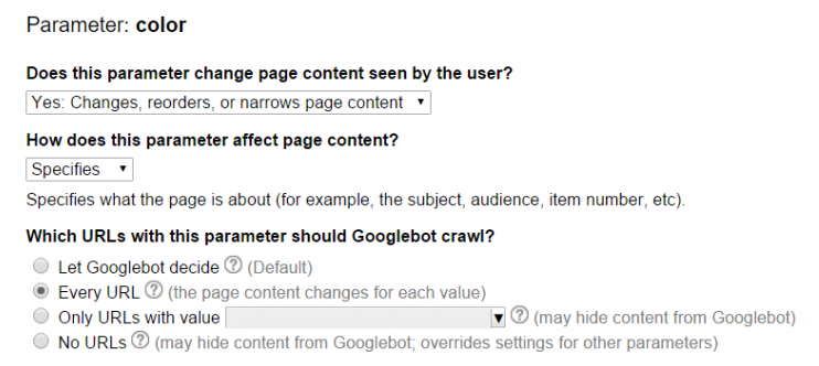 URL parameters in the Google Search Console
