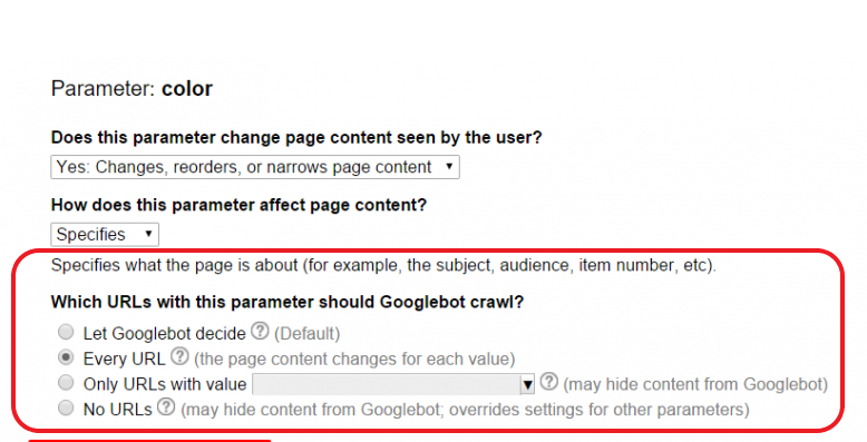 URL parameters for Googlebot bot