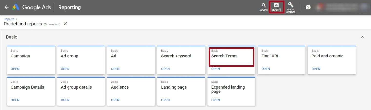 google adwords search terms