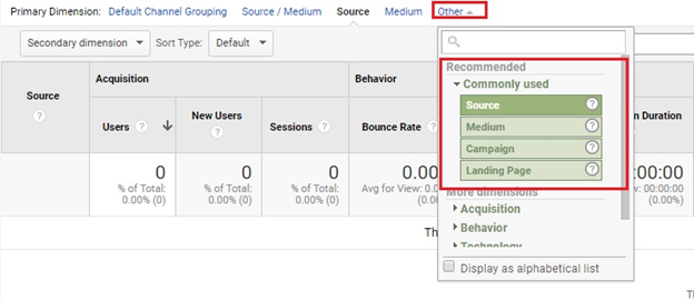 Traffic sources filter in Google Analytics