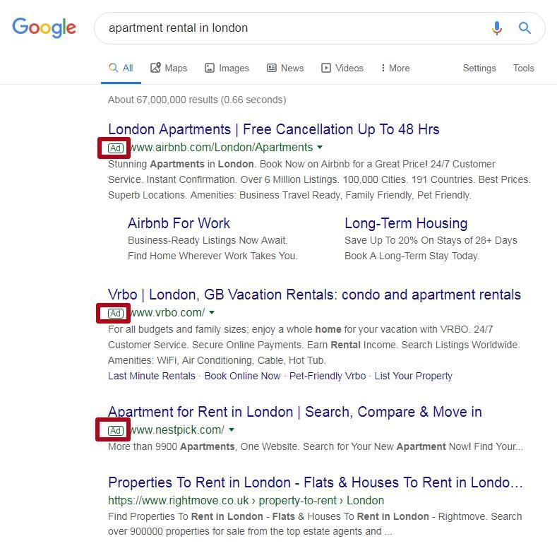 Contextual advertising in Google search