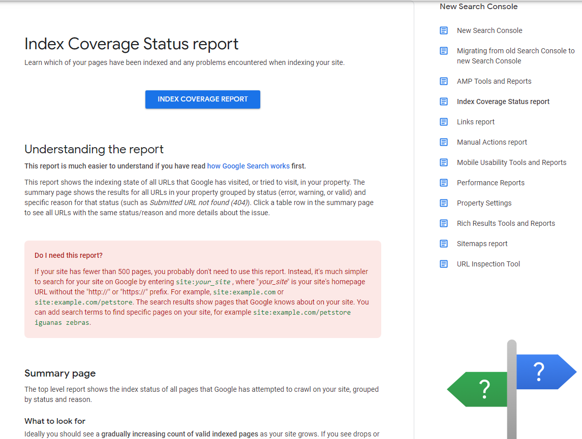 Index coverage status report in Google