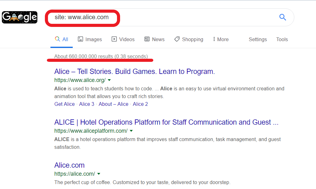 "Checking the indexation with ""site"" operator in Google"