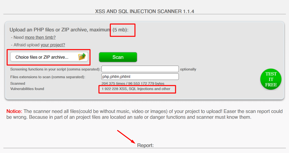 Checking for XSS and SQL Injection Scanner Vulnerabilities