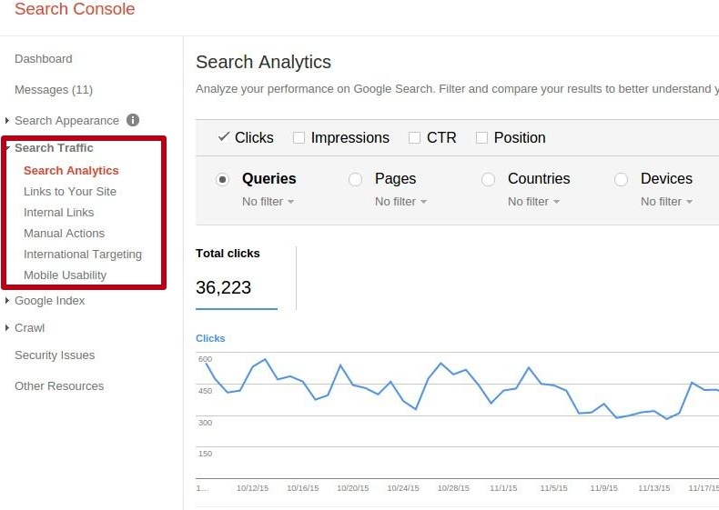 link analysis in the old version of the Google Search Console