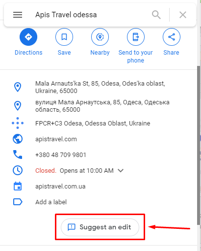 Business information in Google Maps