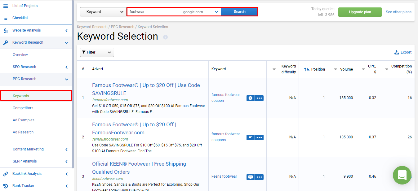 Keyword selection online at Serpstat