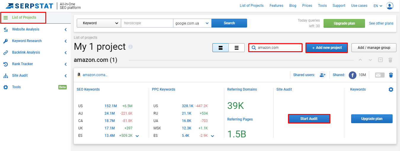 Adding project to Serpstat for SEO audit