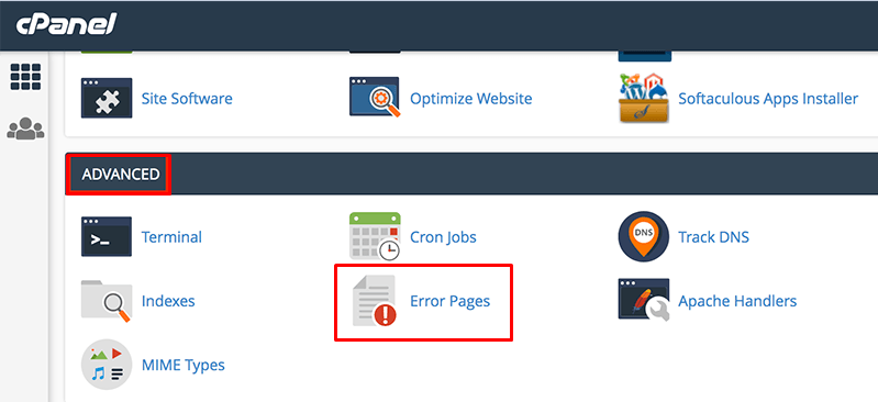 Error pages in cPanel