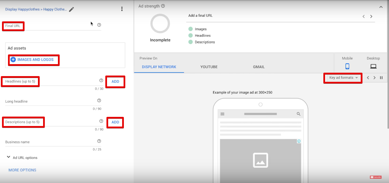 How to creade ad in Google Adwords