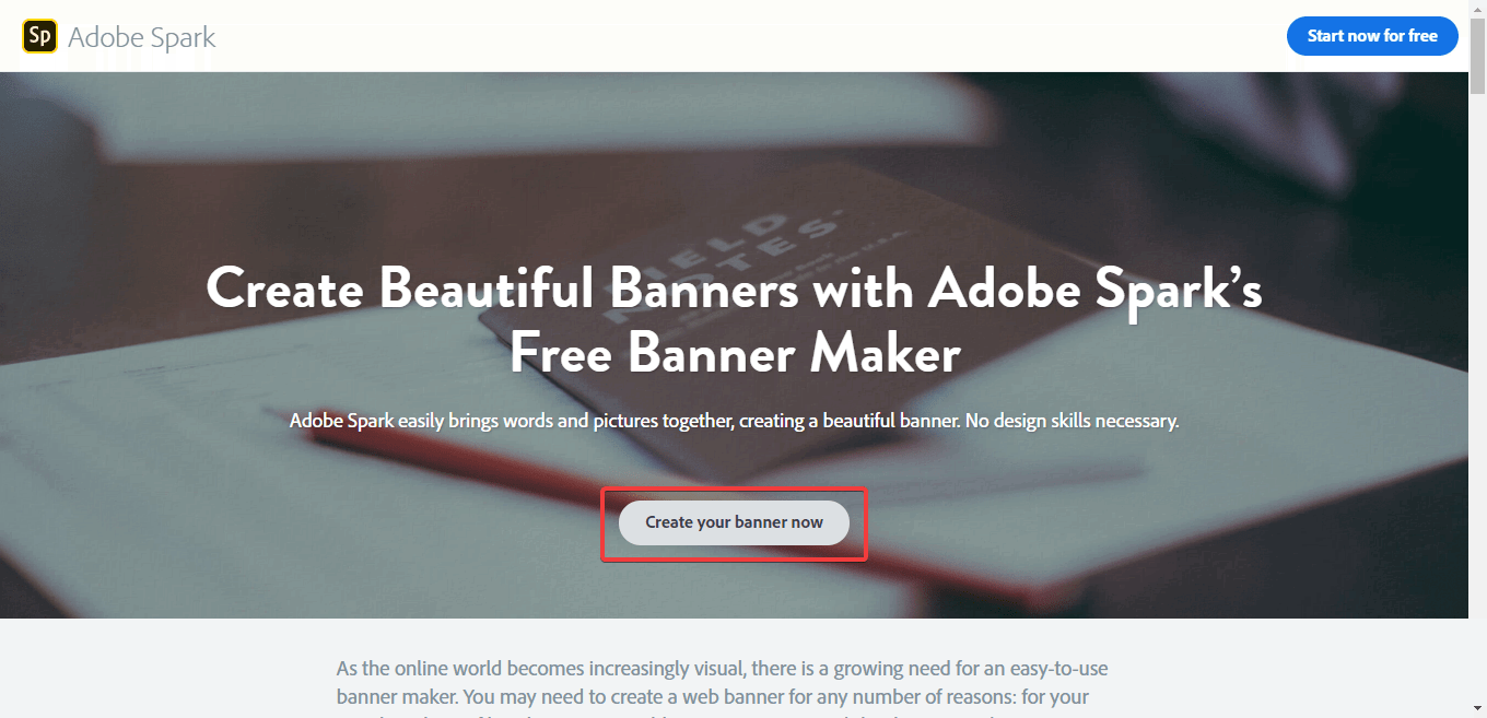 How to create a banner with Adobe Spark