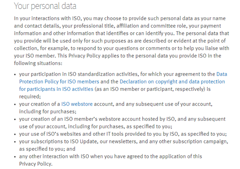 a link to the privacy policy