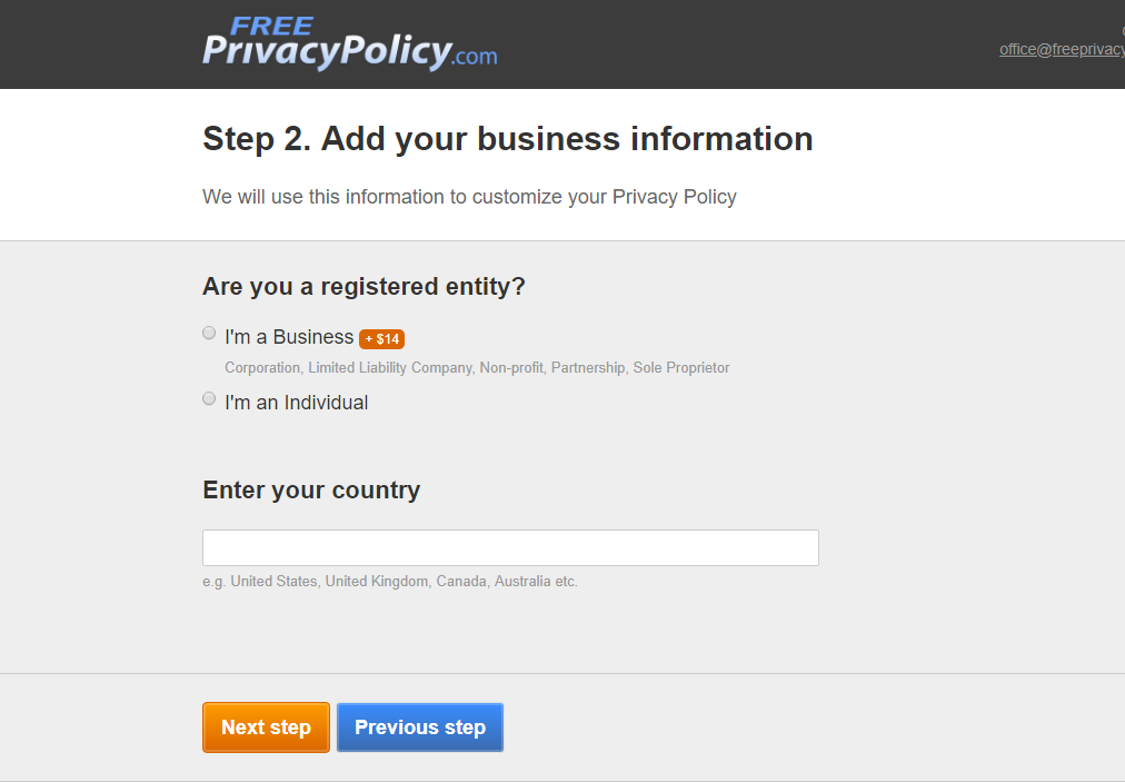 create documents at freeprivacypolicy.com