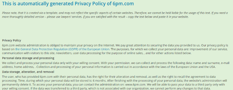 privacy policy generated by ProfiSet