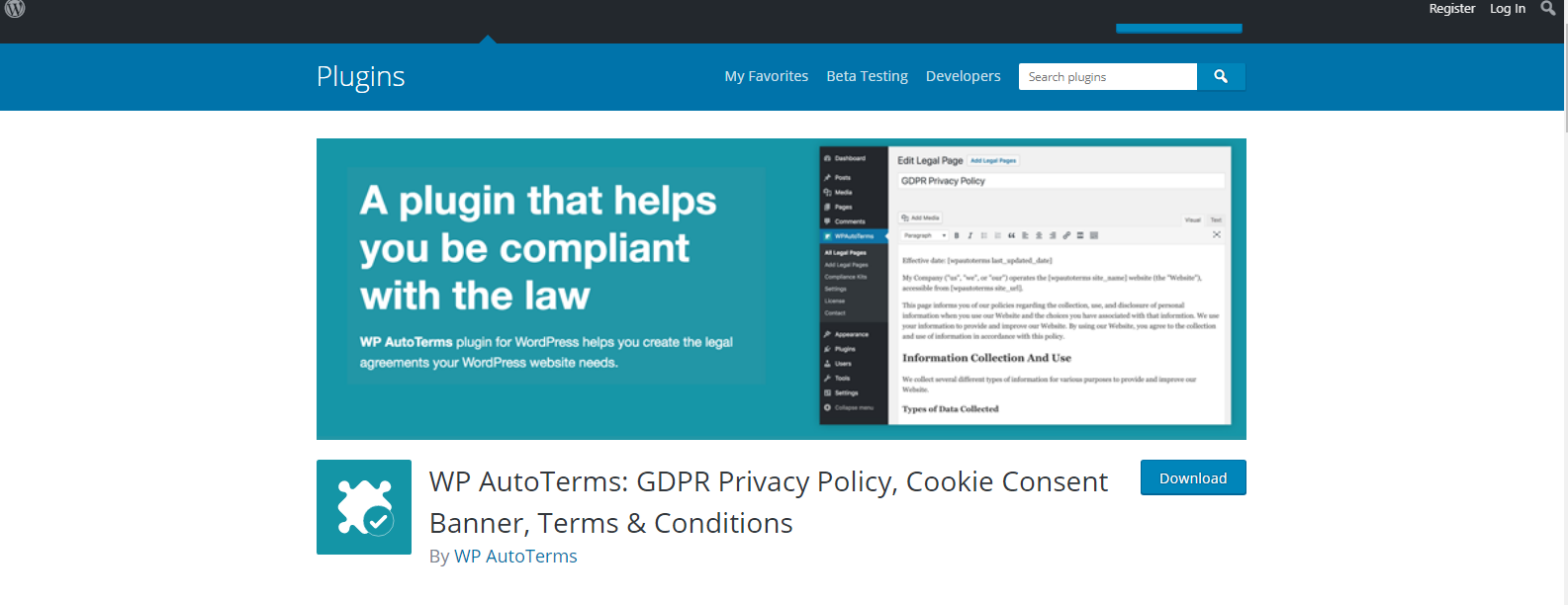 WordPress website privacy policy