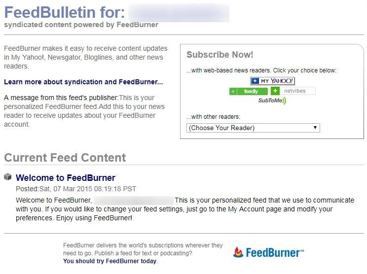 RSS Feed at FeedBurner