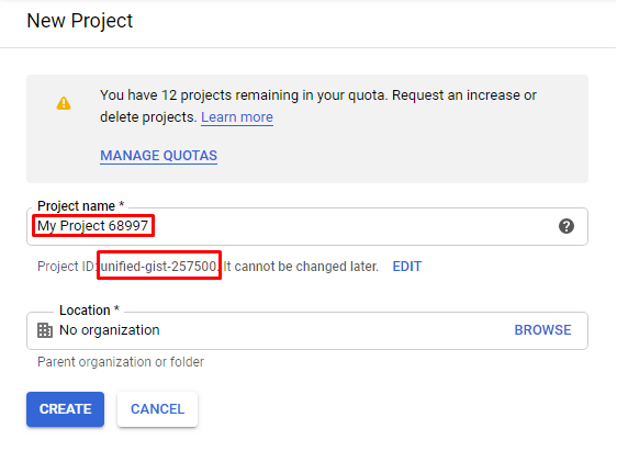 New project ID in Google APIs