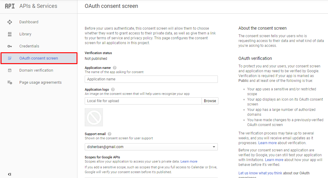 OAuth consent screen in Google