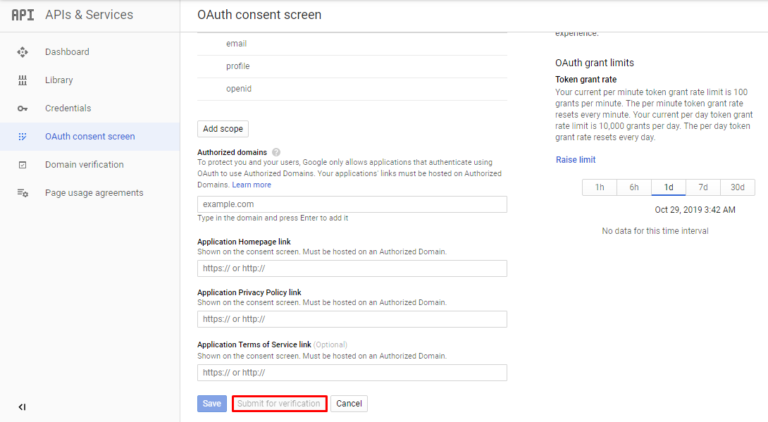 OAuth consent screen verification in Google Developers