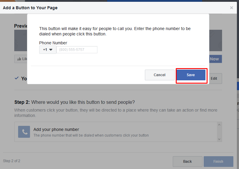 Specifies the phone number to Facebook
