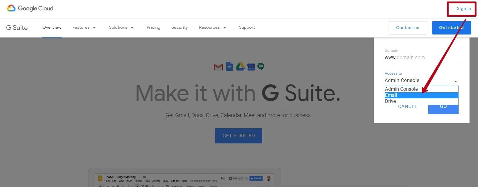 Logging in to the G Suite adminconsole