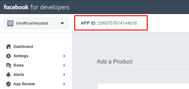 App ID in Facebook for Developers